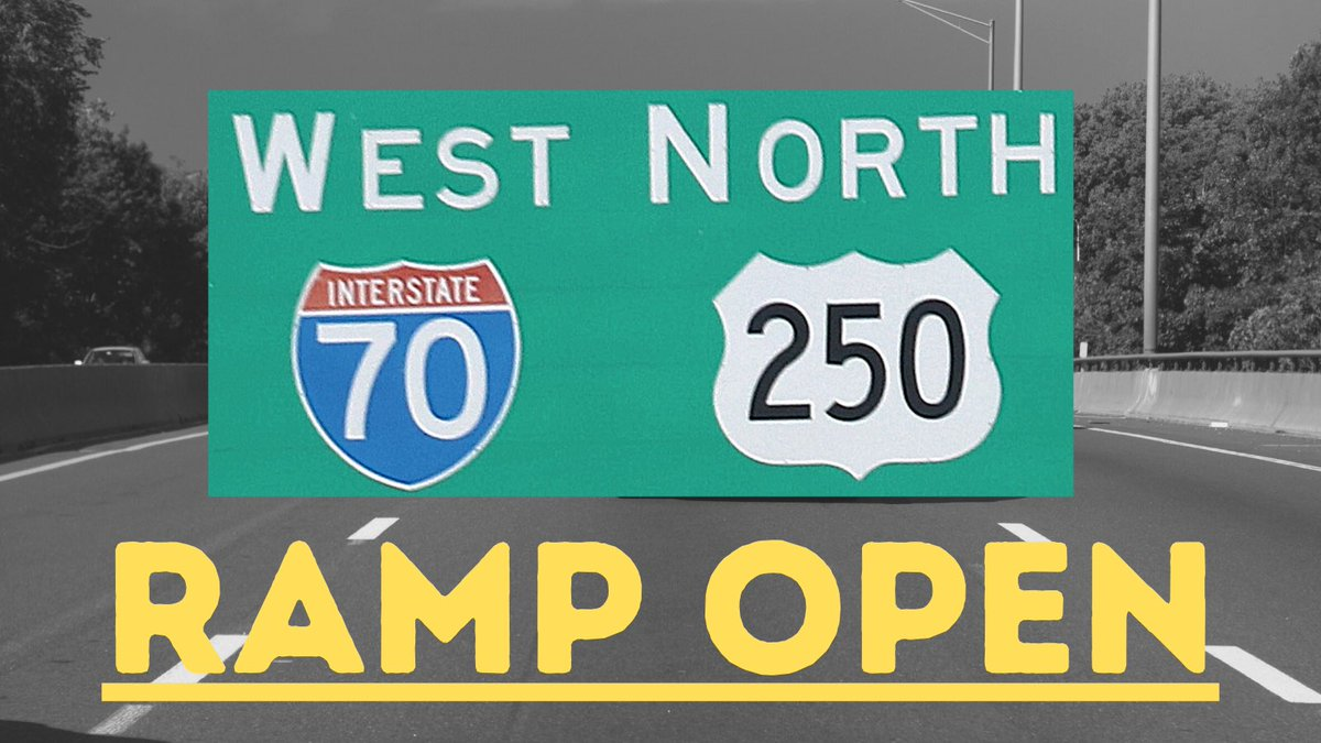 Wednesday, Sept. 23, 2020: 🎉Interstate RAMP OPEN!🎉  *U.S. 250 North ramp to I-70 West is OPEN!*  This also means: ➡️Westbound Tunnel is open 🚧Watch for traffic exiting Tunnel downtown (Exit 1A) 🛑 Watch for merging/changing traffic patterns at the Fort Henry Bridge