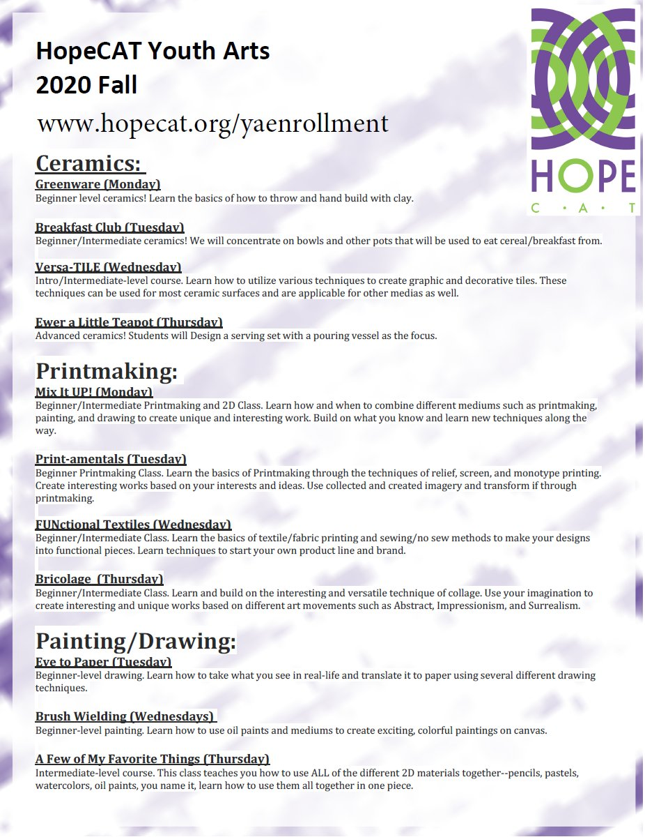 Enrollment is open for @HopeCATSharon No Cost After School Youth Art's programs for students grades 9-12  In person instruction in ceramics, printmaking, and painting. Enrollment link here: