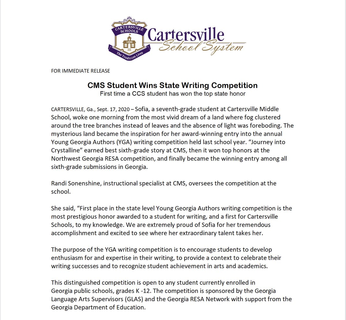 @CMSCanes student, Sofia, wins state in Young Georgia Authors writing competition! #gocanes
