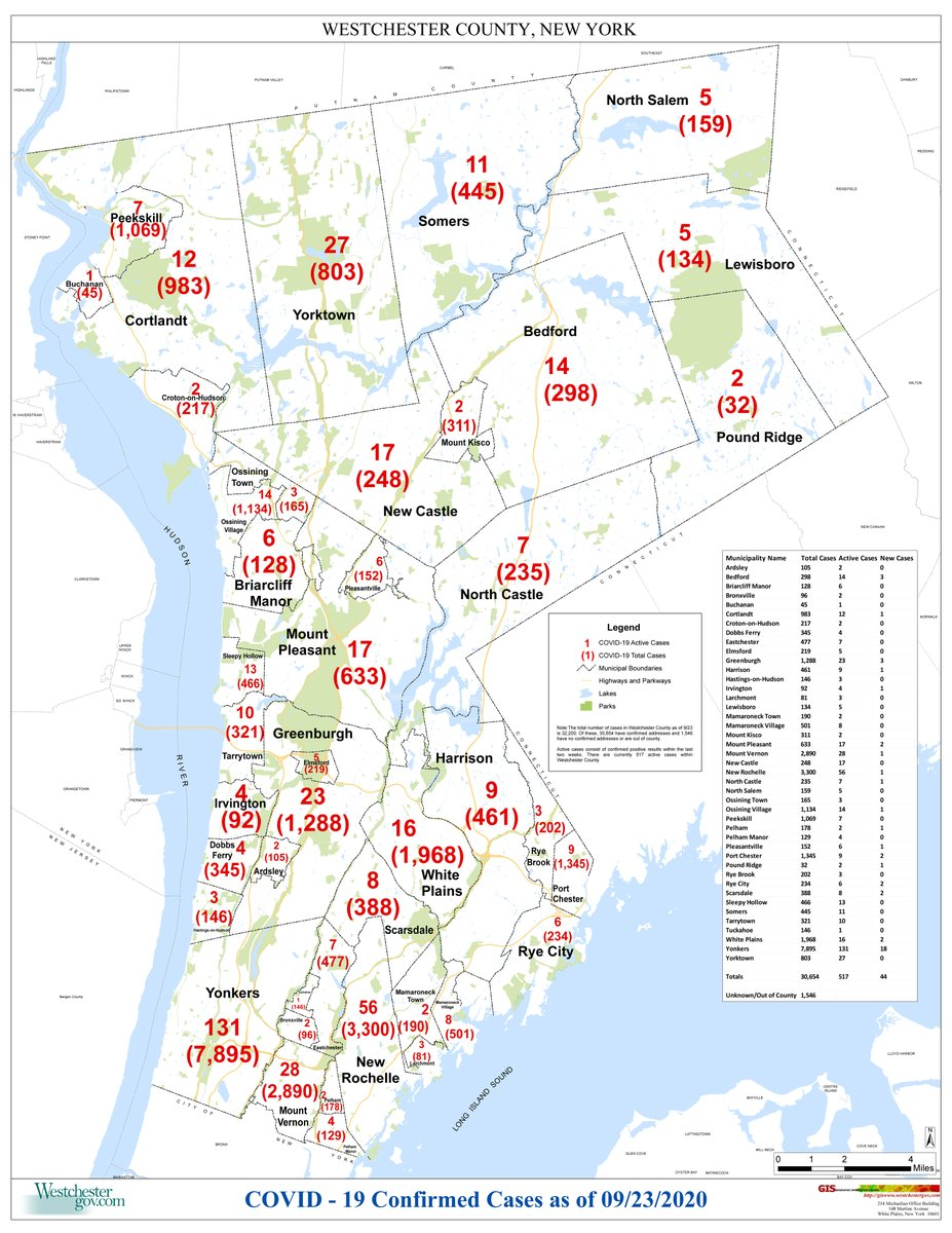 MAP: Active/Total Westchester County Covid-19 Cases as of 9/23