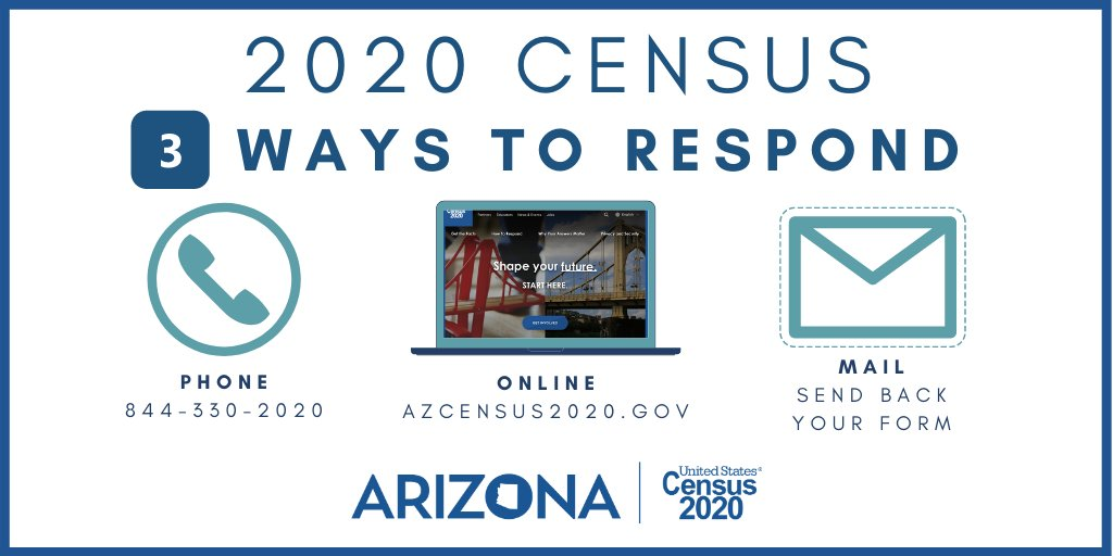 ☝ week left to complete the #2020Census! Respond by either:  Ballot box with check Phone  Ballot box with check Mail  Ballot box with check Online  Find additional info & details:   #AZCounts