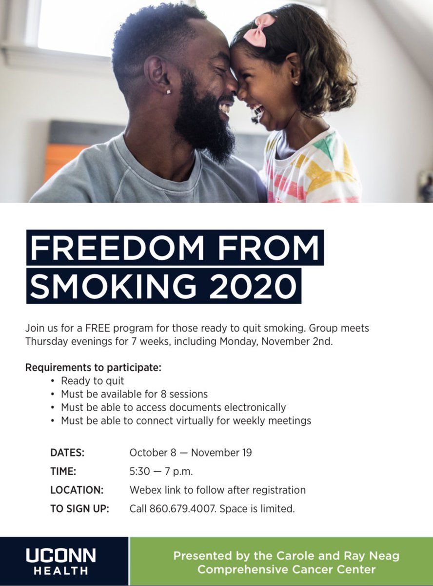 🚭Join @uconnhealth and @HPLCT for a FREE program for those ready to quit smoking! Group meets Thursday evenings for 7 weeks through November  ⏰WHEN: 10/8 - 11/19 • 5:30-7:30 PM 🌐WHERE: Online!  Webex link provided upon registration. ☎️SIGN UP: Call 860.679.4007.