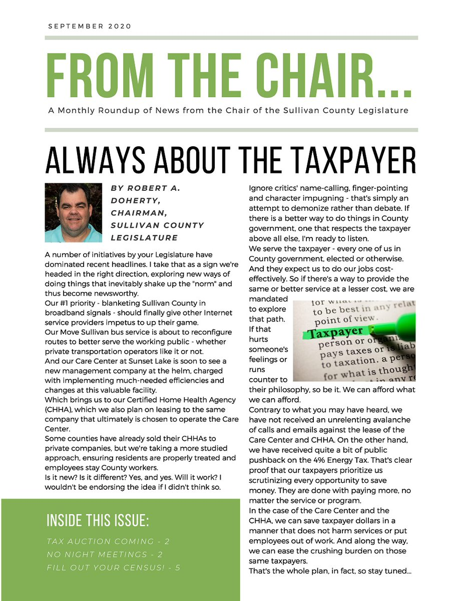 The latest Chairman's Newsletter is published, featuring topics such as the Care Center, the Tax Foreclosure Auction, evening meetings of the Legislature, COVID-19, Route 97's guardrail project, the Census, the November elections, and more.
