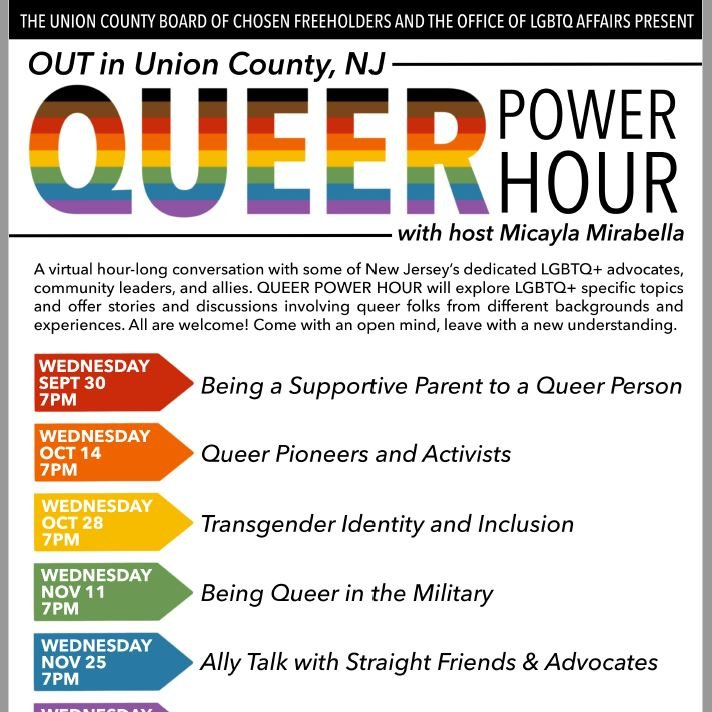 """New """"OUT in Union County: Queer Power Hour"""" online Series Offers News, Views, and Insights on LGBTQ+ Community.  More details + schedule and registration info:"""