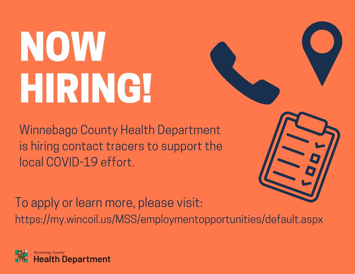 OPEN POSITIONS: WCHD has open positions for Contact Tracers, Case Investigators, Supervisor and Coordinator II as a direct response to support our local COVID-19 effort. If you are interested in applying or learning more please visit: