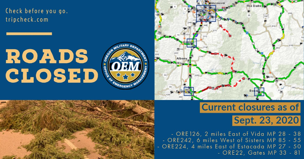Many roads are still closed around the state. Please check before you travel & take alternative routes. Visit  for info. Firefighting efforts, debris clearing & emergency response is still in full swing in many places.  (1/2)  #OregonRising #OregonFires2020