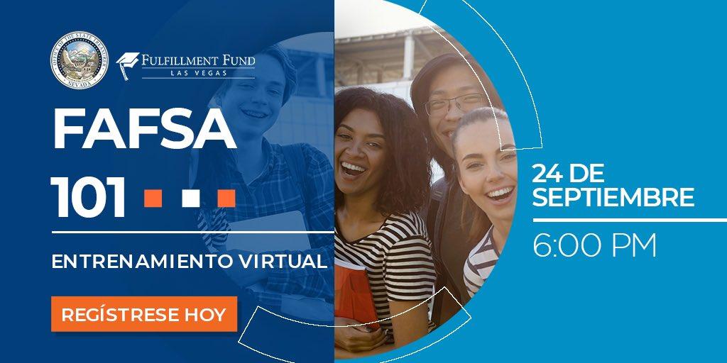 Atención estudiantes de último año! Quieres saber cómo puedes pagar tus estudios? Acompáña al Fulfillment Fund Las Vegas para un taller gratuito que te ayudara a prepararte para el FAFSA 2021-2022.   Registrarse aqui: