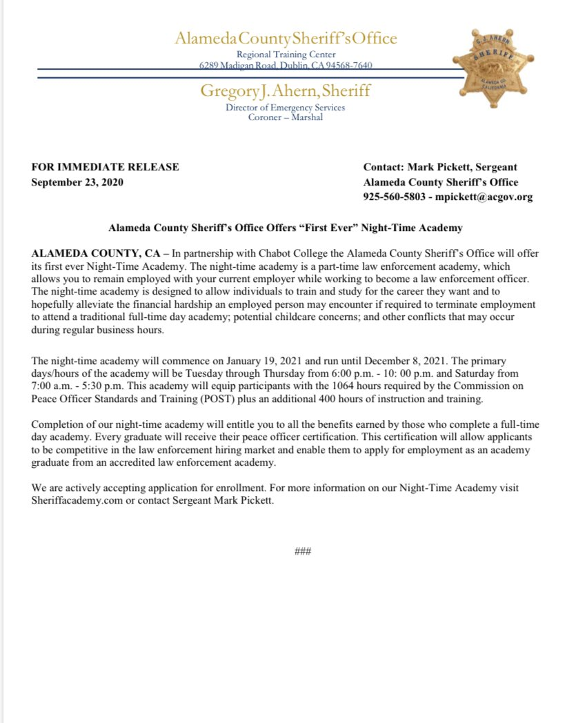 #pressrelease - ACSO Offers Its First Ever Night-Time Academy