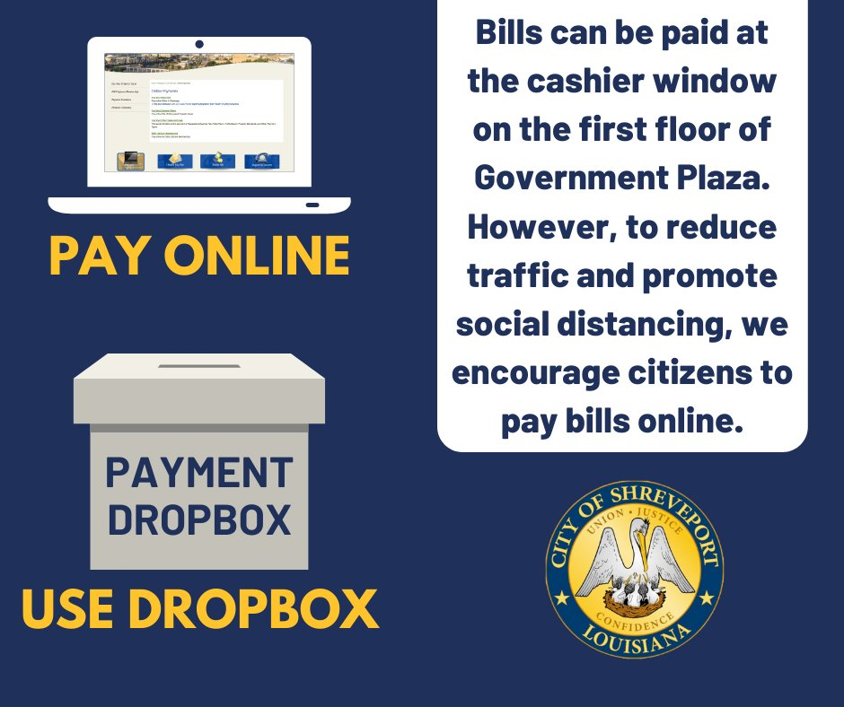 Government Plaza is open to the public and you can pay bills at the cashier window. HOWEVER, we encourage citizens to utilize online services to reduce traffic and promote social distancing. Pay water bills, property taxes, and other taxes and fees here :