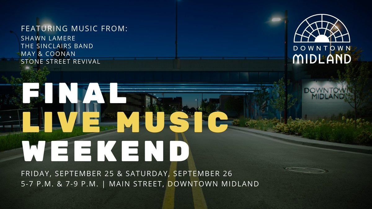 It's the final weekend for our expanded pedestrian plazas in @DtMidlandMI - and your DDA has a 🔥 line-up of live music planned to rock us into fall.   Bring your lawn chairs, mask, & socially distance yourself in the closed street while enjoying our beautiful downtown.