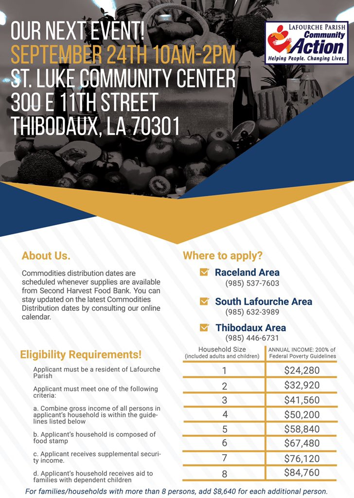 Reminder: Thibodaux Commodity Distribution Tomorrow  **Outreach offices will be closed tomorrow so team members can assist with the distribution; however, they will also be available to assist with program needs as well on site.**