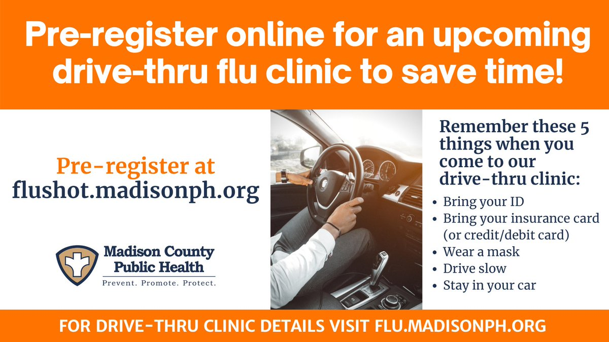 Pre-register for our upcoming drive-thru flu shot clinics at  to avoid the paperwork in your car. When you arrive tell our staff your name & that you pre-registered. Confirm a few things & you'll be on your way! Visit  for more info.