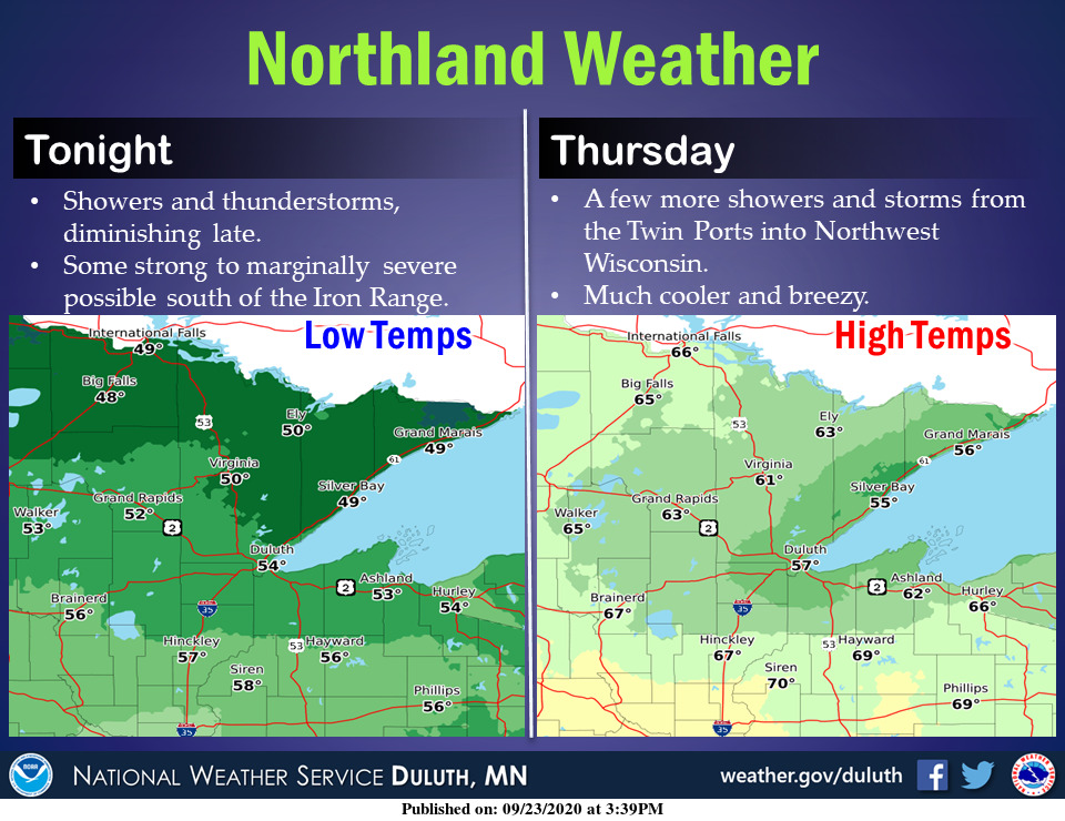 Showers and thunderstorms will overspread the Northland tonight and linger into Thursday. #mnwx #wiwx