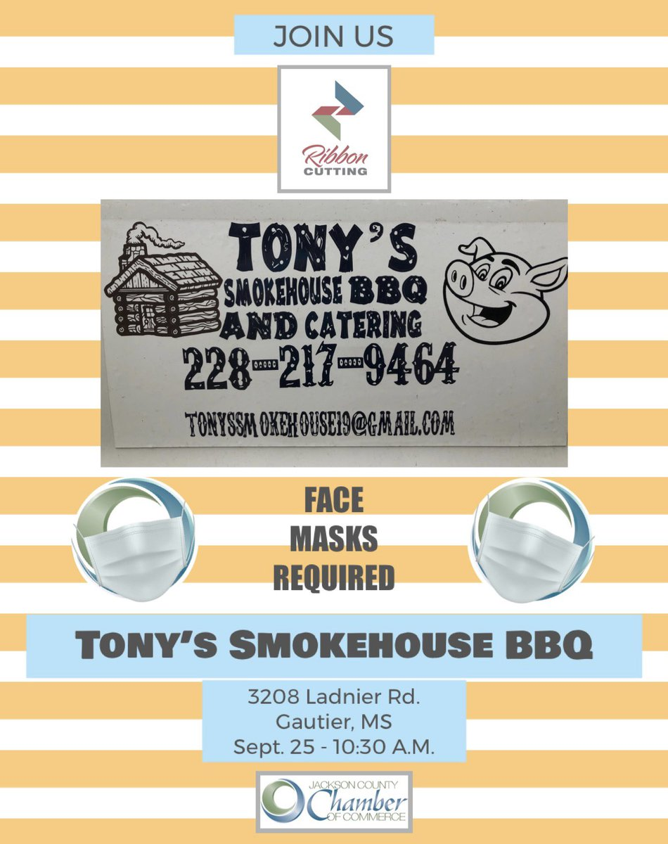 JOIN US for a ribbon cutting at Tony's Smokehouse BBQ & Catering THIS FRIDAY at 10:30!