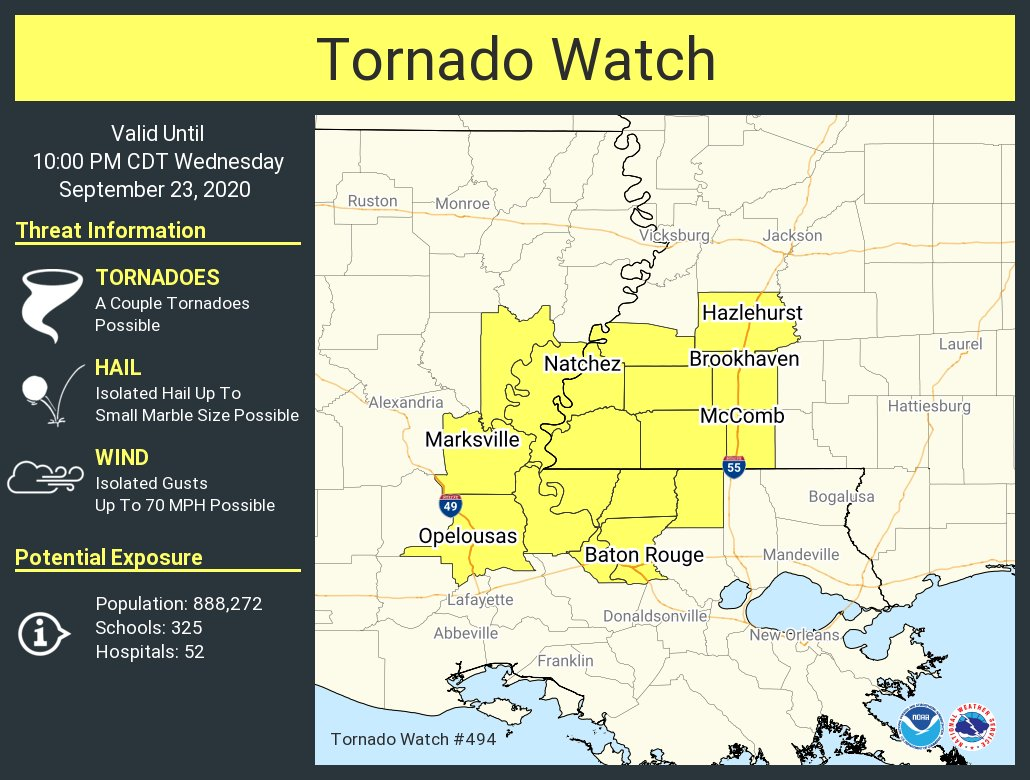 A tornado watch has been issued for parts of Louisiana and Mississippi until 10 PM CDT