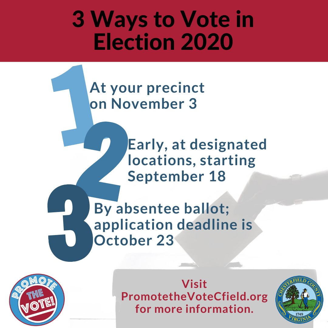 Make a plan, obtain your ballot and VOTE!   There are three ways to vote in the 2020 General Election in Chesterfield. Check out how to cast your ballot here: