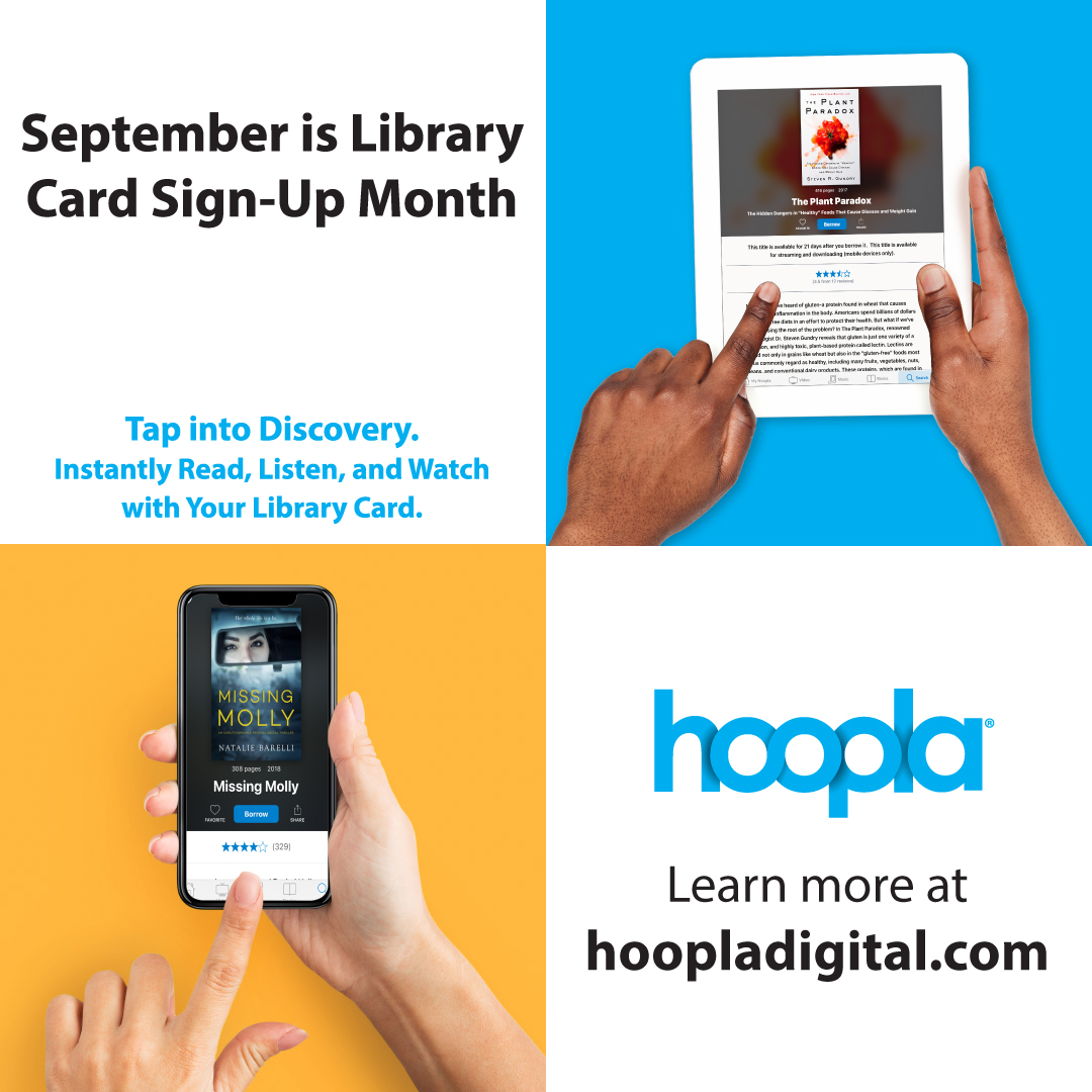 Celebrate Library Card Sign-Up Month by checking out what's on hoopla digital   #librarycardsignupmonth #ala #librarylove #open247