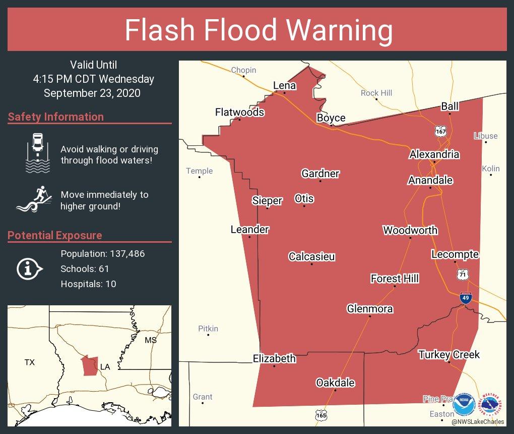 Flash Flood Warning including Alexandria LA, Pineville LA, Oakdale LA until 4:15 PM CDT
