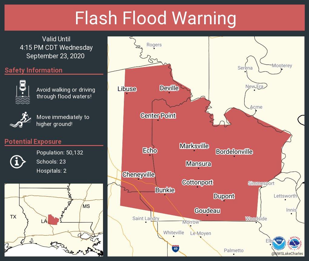 Flash Flood Warning including Marksville LA, Bunkie LA, Cottonport LA until 4:15 PM CDT