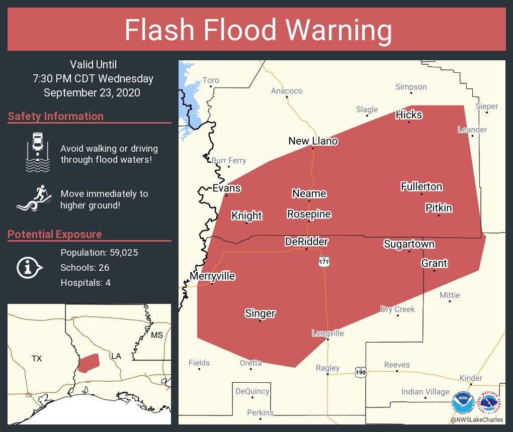 Flash Flood Warning including DeRidder LA, New Llano LA, Rosepine LA until 7:30 PM CDT