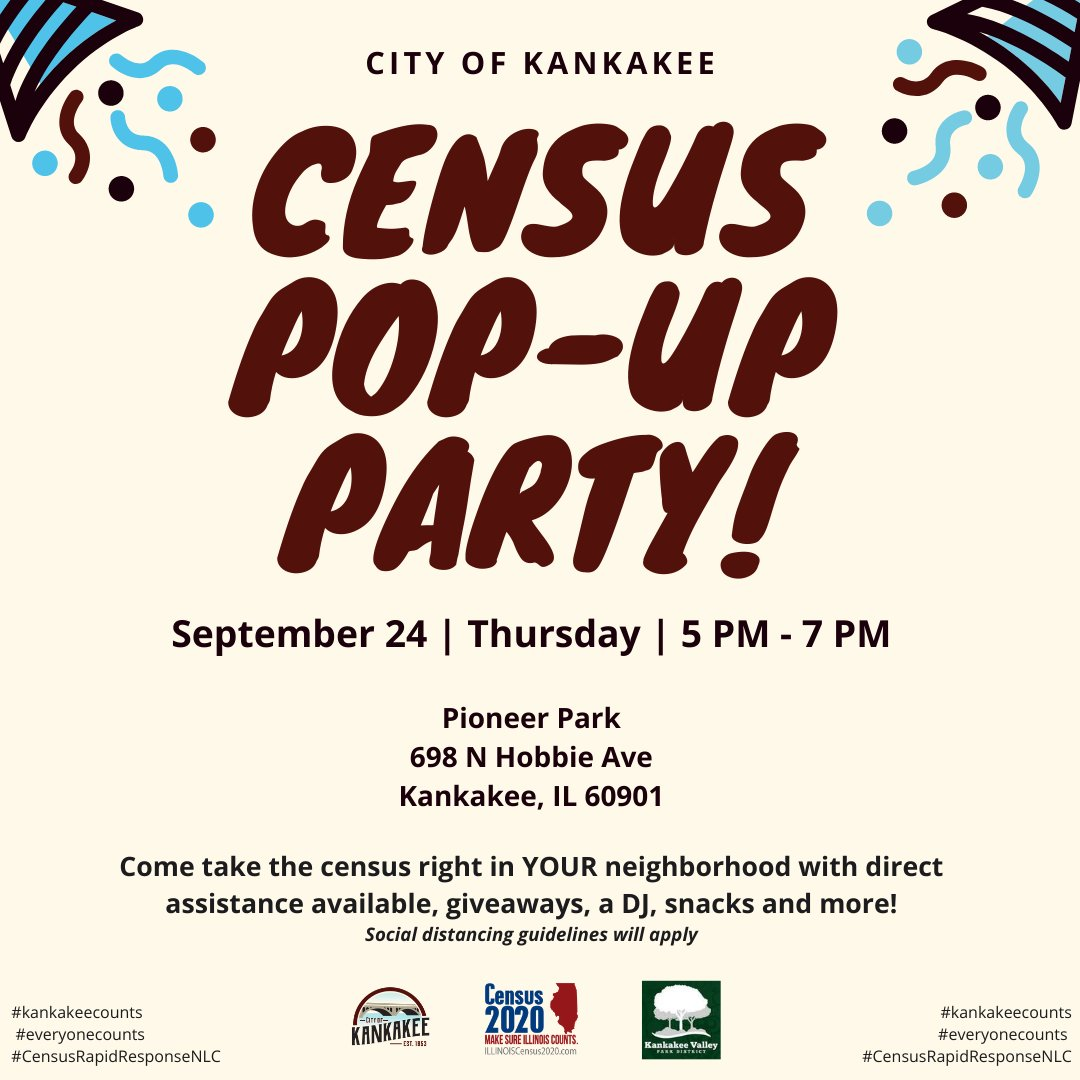 Join us to help complete the count for the Census! The City of Kankakee is coming to a neighborhood near you! Come take the Census tomorrow from 5:00 p.m. – 7:00 p.m. in Pioneer Park. There will be live music, snacks, giveaways and more! *Social distancing guidelines will apply*