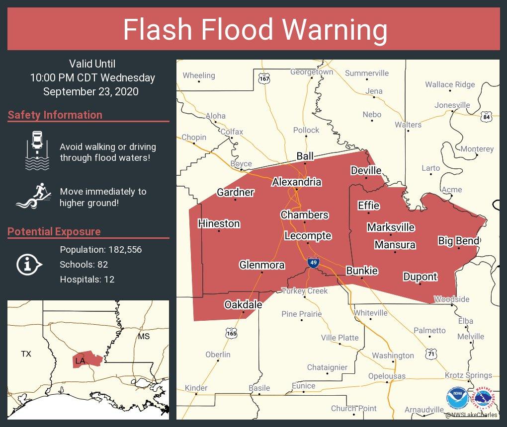 Flash Flood Warning continues for Alexandria LA, Pineville LA, Oakdale LA until 10:00 PM CDT