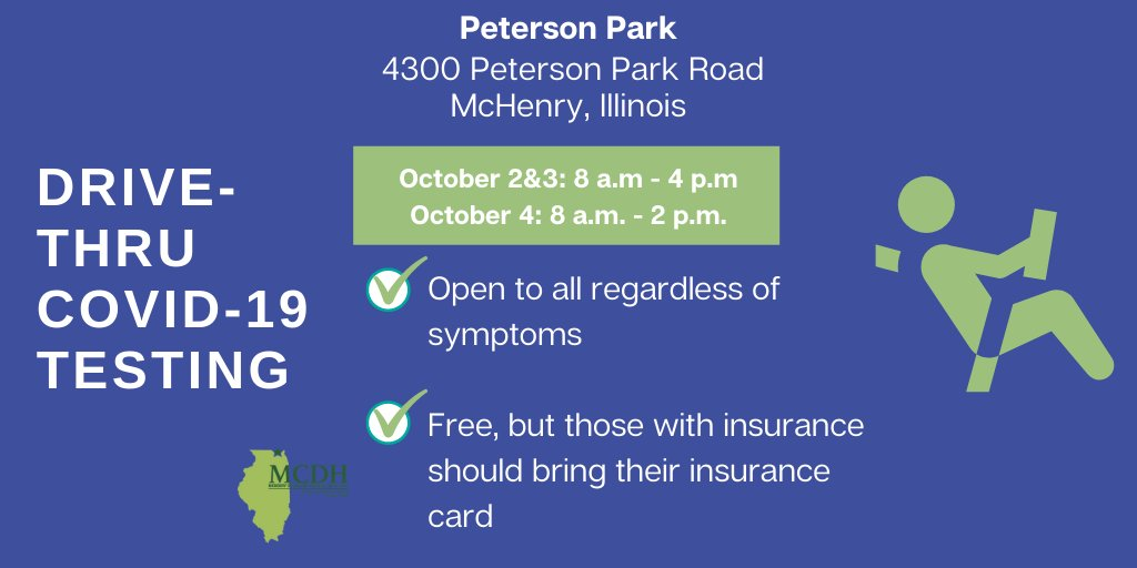 Drive-up COVID-19 testing will be back in McHenry County in October, this time at Peterson Park in McHenry, Illinois. Read the full release about this free testing opportunity at