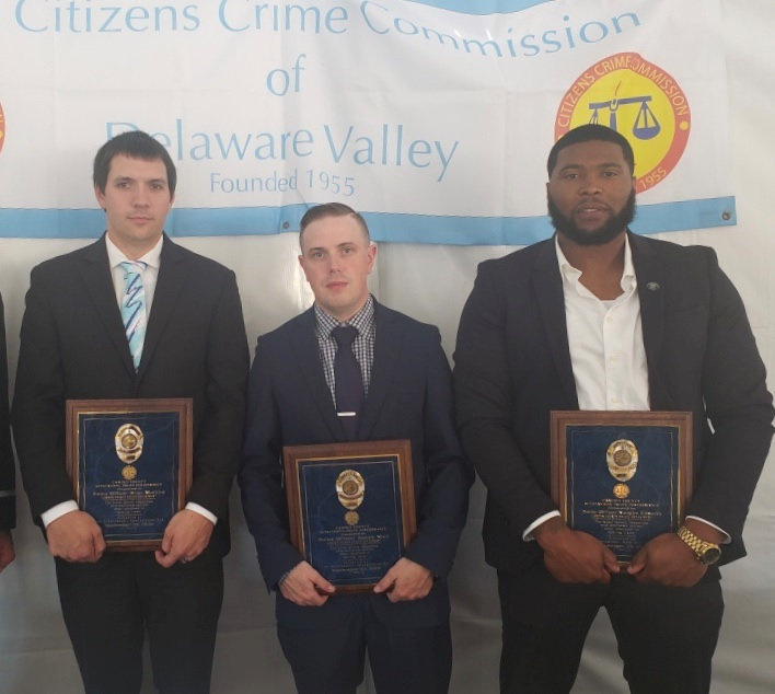 Detective McCline, Officer Mair and Detective Edwards at the Citizens Crime Commission in Philadelphia today where they received bravery awards for saving lives during a fiery car crash last year. #CamdenStrong #StrongerTogether