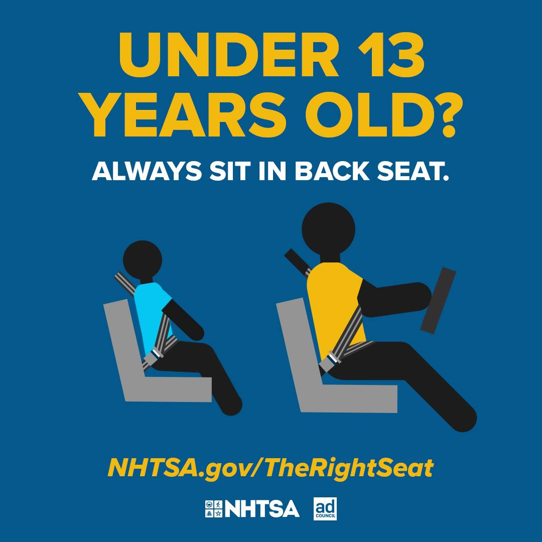 Most kids under age 13 would not be able to withstand the force of an airbag that is deployed at 200 mph, so sitting in the back seat is the best place for them.
