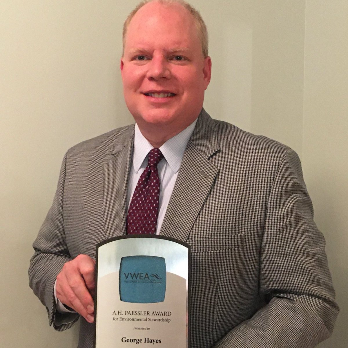 Congrats to Utilities Director George Hayes for being awarded the A.H. Paessler Award from the Virginia Water Environment Association. This is the first time a #Cfield employee was presented with this distinguished award, which is only presented once a year to a single recipient.