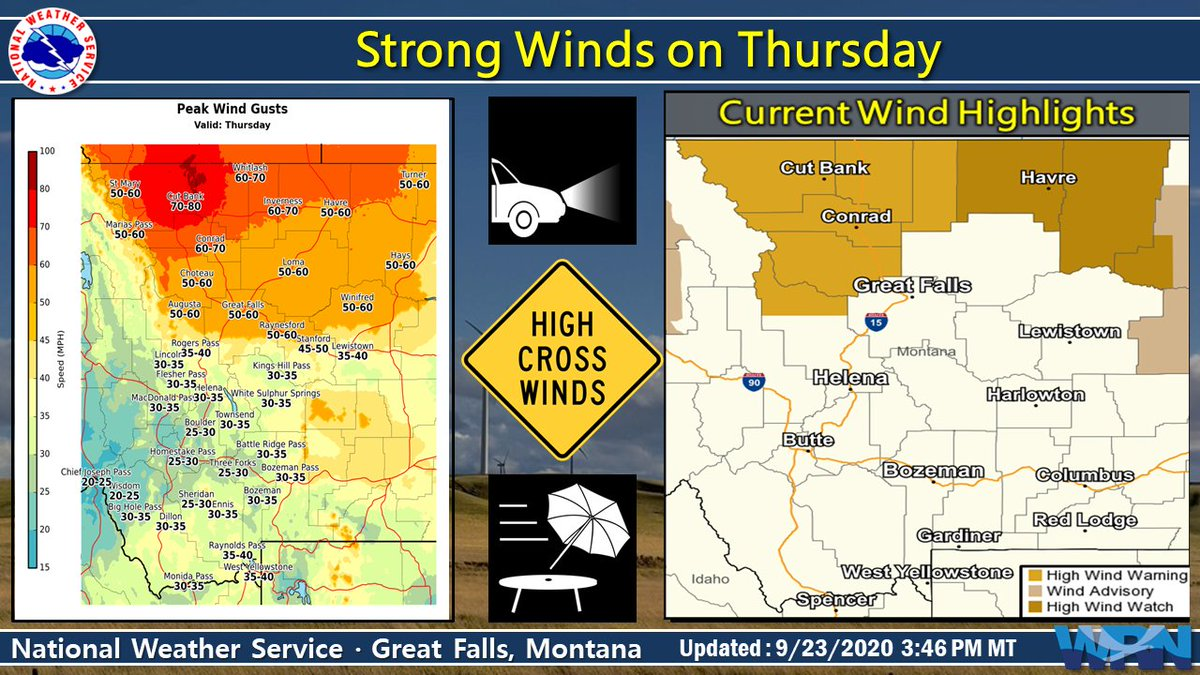 Looks like fall is going to come in with some strong winds on Thursday. Additionally, we can expect low humidity, which will create critical fire weather conditions. Be prepared for the strong winds and any potential new fire starts on Thursday. #mtwx