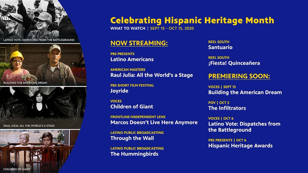 In honor of #HispanicHeritageMonth, check out these documentaries/films to watch! List provided by @PBS. 🎉