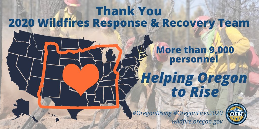In this wildfire emergency, Oregonians are helping each other - but we were never alone. Thank you. #OregonFires2020 #OregonRising.