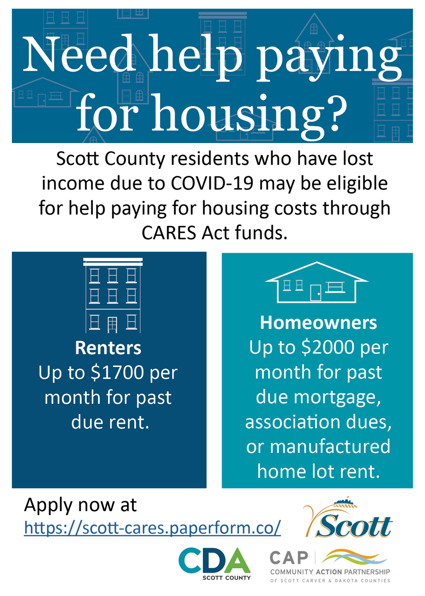 Please help Scott County spread the word about this opportunity for housing relief. If you, a neighbor, or a loved one need a computer to fill out the application, call your Library. We are here to help.  Application Link: