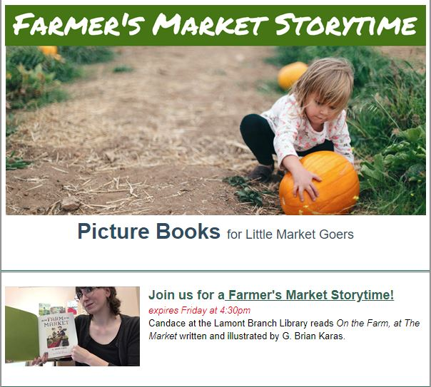 Check out our newsletter for fun kid's reads all about Farmer's Markets!