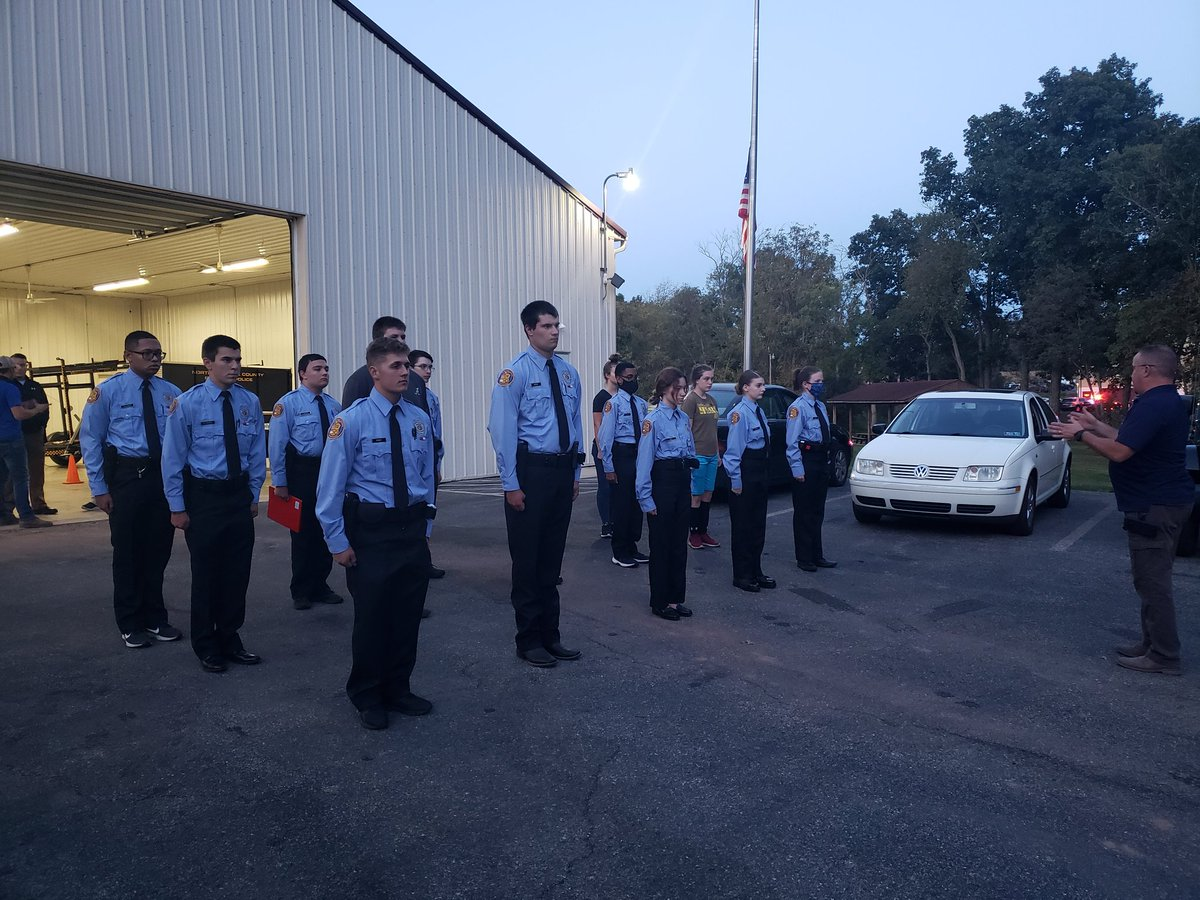 Police Explorer Post 1445 starting operations back up again starting with drill.