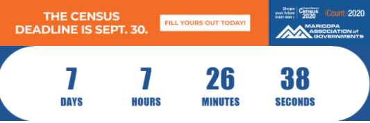 The #2020Census Countdown clock is ticking down! The Census closes a week today! We still have households to count in Pinal County, so if you haven't been counted please visit  or call 844-330-2020.