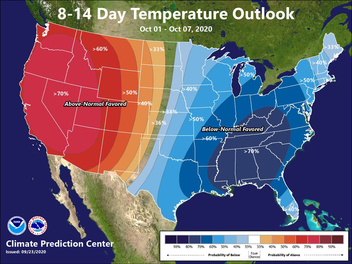 There continues to be a signal for a strong push of very chilly air into the region by the time the calendar flips to October! Temps may be 10°+ below seasonal norms for several days in a row mid/late next week. Certainly nowhere near last year's 90°+ temps for start of October!