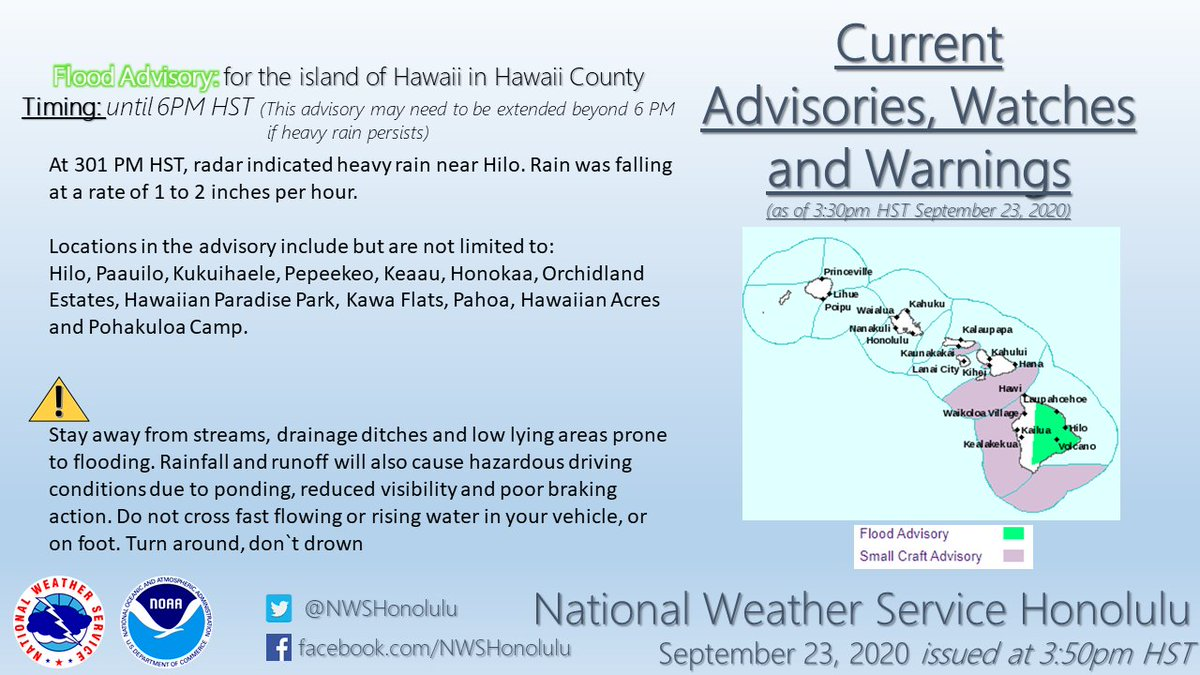 Flood advisory for the island of Hawaii in Hawaii County until 6:00 PM HST.  #hiwx