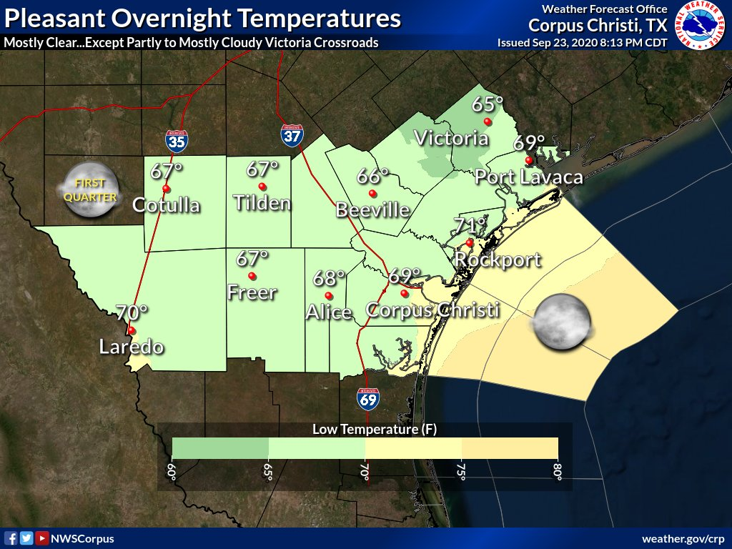 Lingering clouds from Beta over the Victoria Crossroads. Otherwise, mostly clear elsewhere across South Texas. North to northeast winds at 10 to 15 mph. Lower dew points across the region, equates to pleasant overnight temperatures. Lows mainly 65 to 70 degrees. #txwx #stxwx
