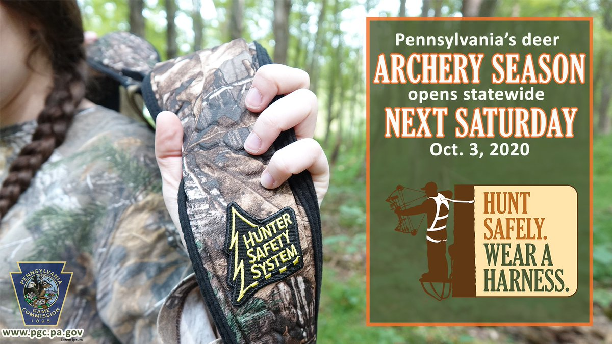Pennsylvania's deer archery season opens statewide next Saturday, Oct. 3, 2020! With archery season right around the corner, we just want to remind all hunters to wear their fall arrest system or full-body harness every time their feet leave the ground! #HuntSafely #WearAHarness