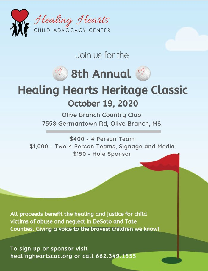 Sign up today for Healing Hearts 8th Annual Heritage Classic at @OBCountryClub on October 19th! All proceeds benefit the healing and justice for child victims of abuse and neglect in DeSoto and Tate Counties. To sign up visit  or call 662.349.1555.