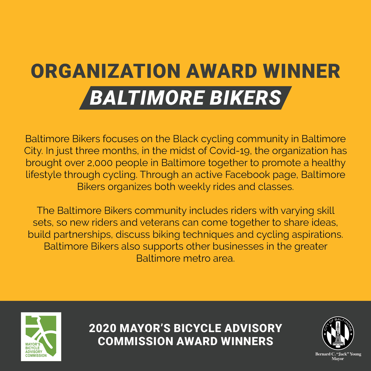 The Mayor's Bicycle Advisory Commission (MBAC) is proud to announce the winners of its inaugural MBAC Awards. These awards recognize individuals and organizations who are making bicycling, and our city, better for all. Congratulations to all of the winners!