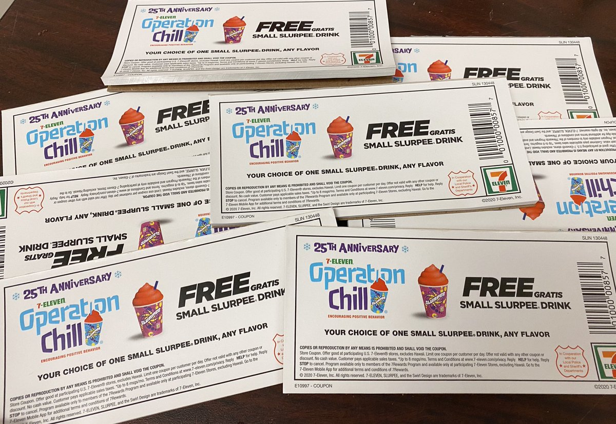 Thanks to @7eleven for giving us a bunch of coupons for a free Slurpee. Officers can give them to kids (while we are 😷 of course) doing things right like wearing helmets and using crosswalks. #OperationChill