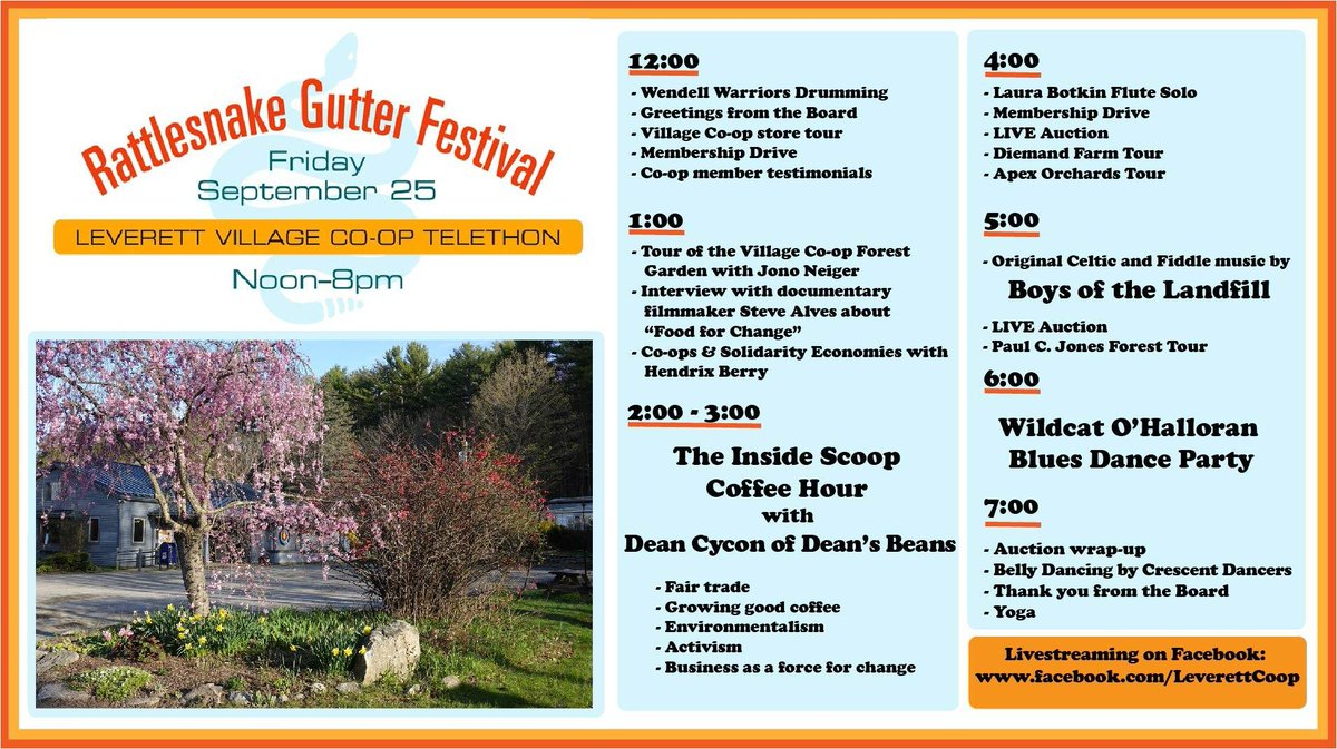 We are so excited for the Rattlesnake Gutter Festival and LVC Telethon tomorrow at Noon! The Leverett Village Coop has adapted and emerged resilient, continuing to be a community anchor in Leverett, truly Chamber's motto — #BuildingBusiness #BuildingCommunity