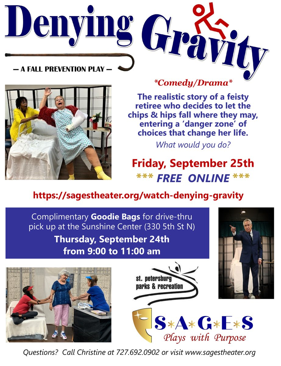 Watch the realistic story of a feisty retiree who decides to let the chips & hips fall where they may, entering a 'danger zone' of choices that change her life. Free online Friday, September 25th.  #FallPrevention #PinellasHS