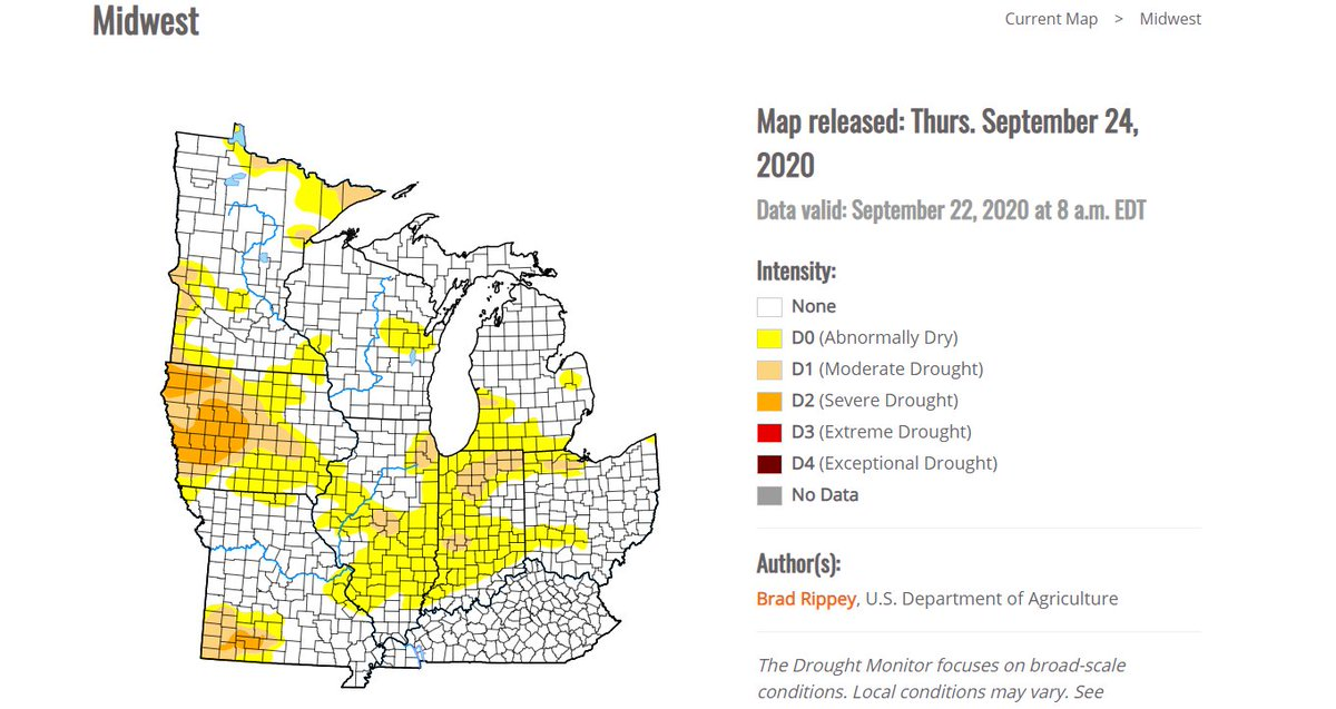 [10:30 AM] Here is a look at the most recent drought monitor for the Midwest - published earlier today. We still see a portion of southern Indiana and southwest Ohio being 'abnormally dry' compared to the climatology. #ohwx