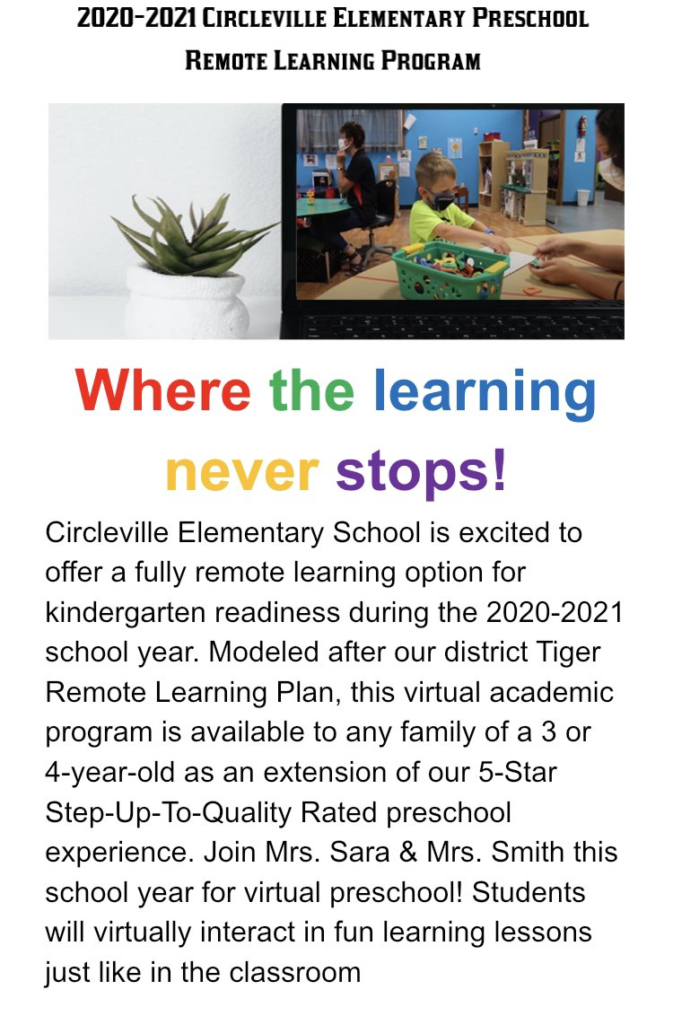 Our @CESTigerPride Preschool Program now offers a REMOTE learning option for Tigers 3 and up! See details in the flier below.