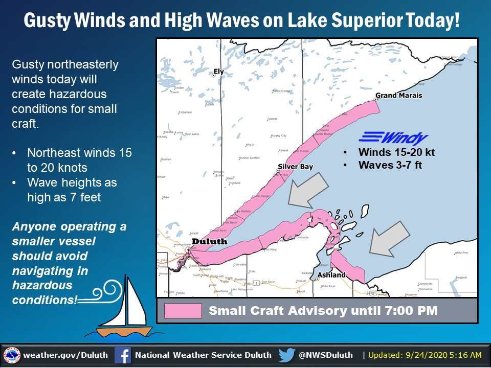 Watch out for gusty northeasterly winds between 15 and 20 knots and wave heights from 3 to 7 feet on Lake Superior today! Small Craft Advisories are in effect until 7:00 PM! #mnwx #wiwx