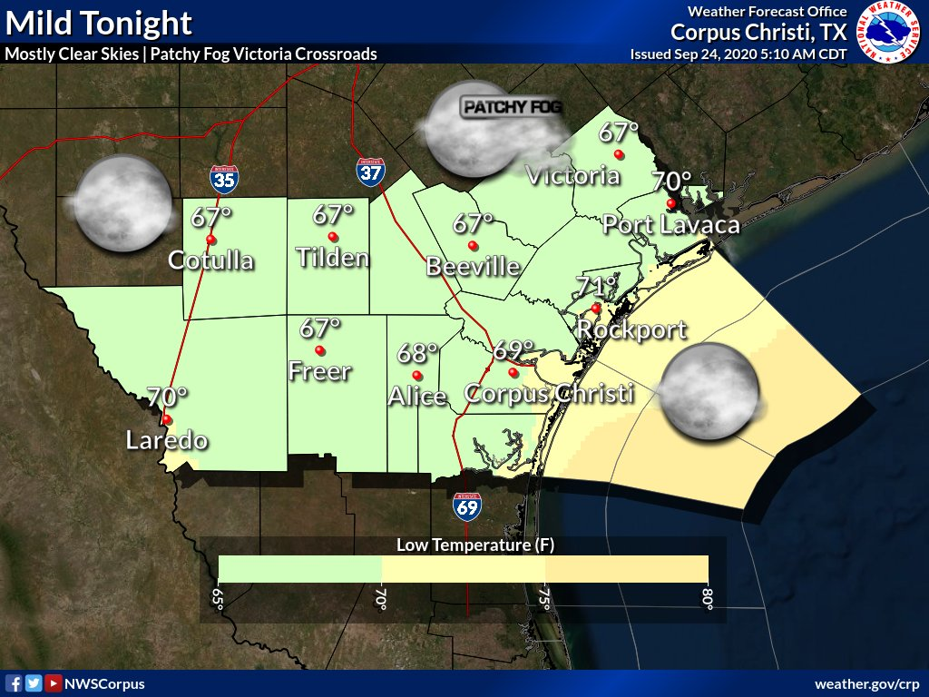 Mild conditions expected tonight with lows in the mid to upper 60s most locations. Skies will be mostly clear. Patchy fog is possible across the Victoria Crossroads late in the night.